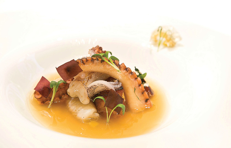Pork belly, octopus, squid, mussel consommé