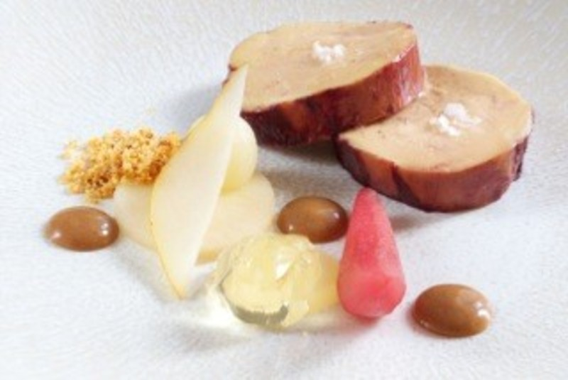 Port marinated foie gras, pear, ginger bread puree and sweet wine jelly