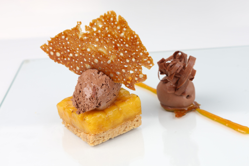 Ecuador chocolate mousse with a set mango and passion fruit compote by Paul  Wayne Gregory