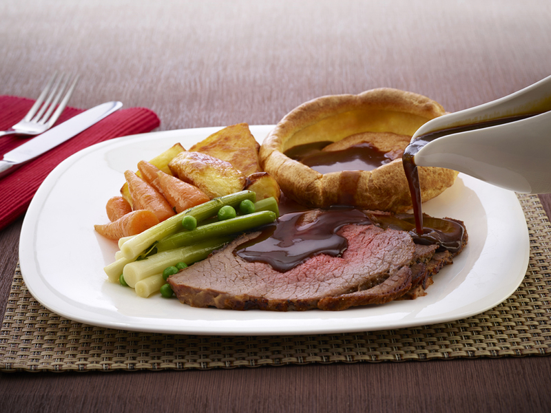 Roast Beef with Bisto Gravy and McDougalls Yorkshire Puddings