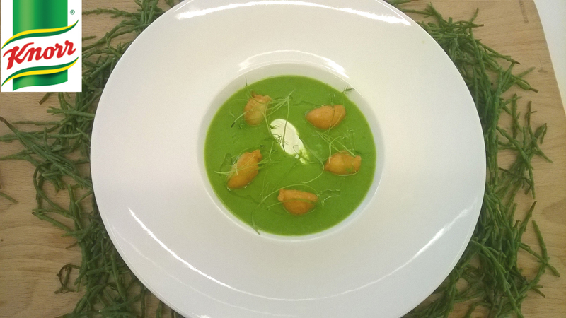 Chilled pea soup with crab beignets