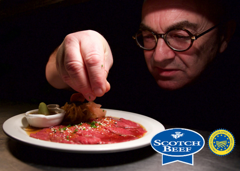 Japanese style Carpaccio of Scotch Beef with Ponzu Onion