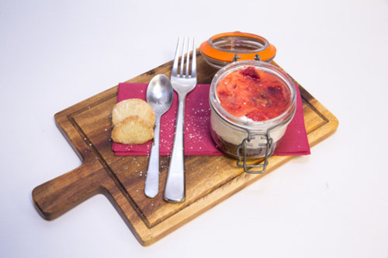 Blood Orange Syllabub made with Vintage Cider and served with a Shortbread Biscuit
