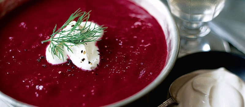 Hot or chilled Beetroot soup with Horseradish cream