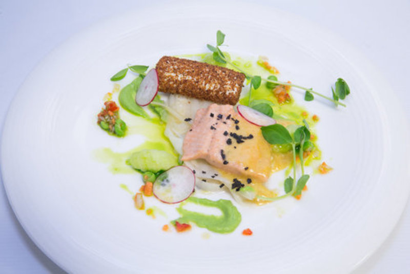 Confit Trout with Nut Brown Butter Sabayon, Goat's Cheese Mousse with Gingerbread, Leeks a La Greque and Pea Salsa
