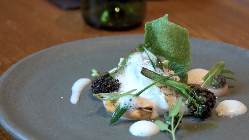 Wild sea bass with mussel, broccoli, smoked bone marrow and sea vegetables