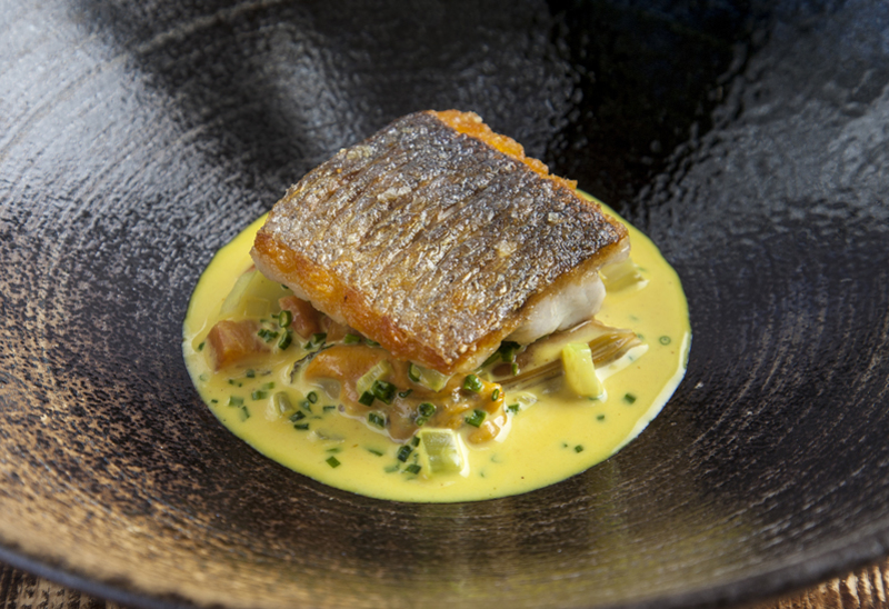 Sea bass, mussels, coriander and curry