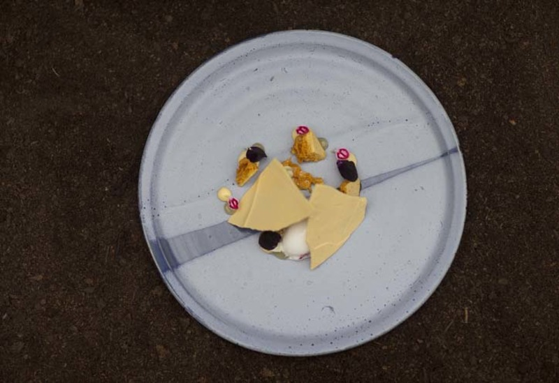 Honey and flowers - honey meringue, honeycomb, elderflower and cider vinegar sorbet, elderflower curd.