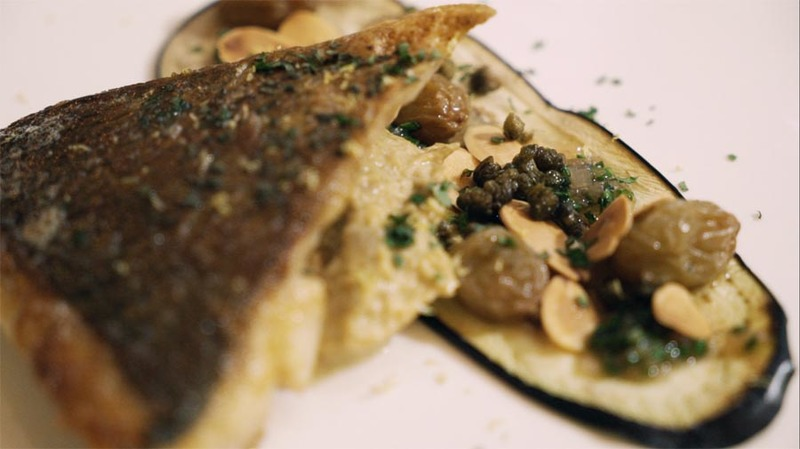 Moroccan Spiced Sea Bream with Smoked Aubergine and Golden Raisins