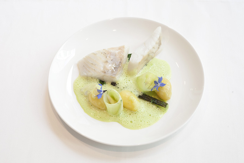 Pan roasted trance of Turbot in beef dripping with Jersey Royals, crushed cucumber and dill, cucumber beurre blanc