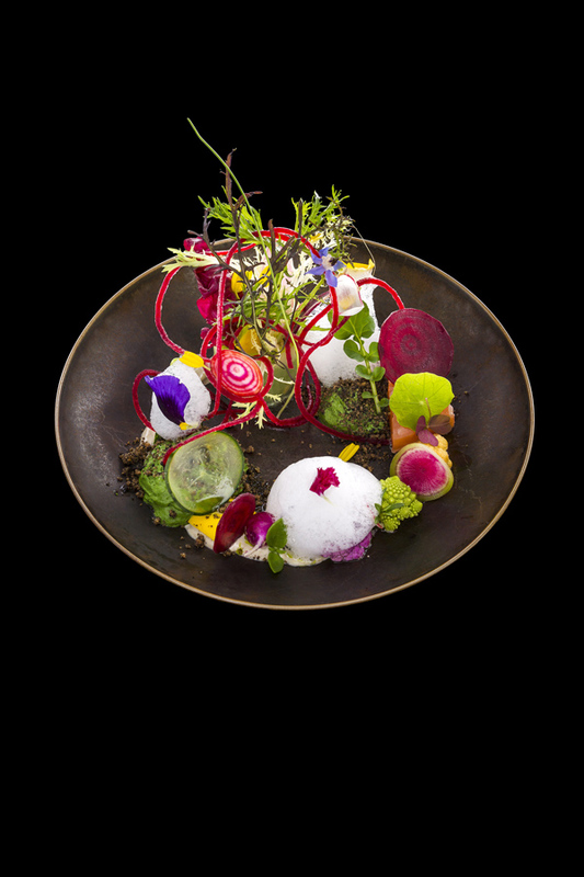 Garden of vegetables, foam of rocket, olive mayonnaise
