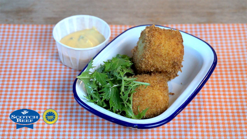Braised Scotch Beef Shin Croquettes, Smoked Caper & Bone Marrow Mayonnaise