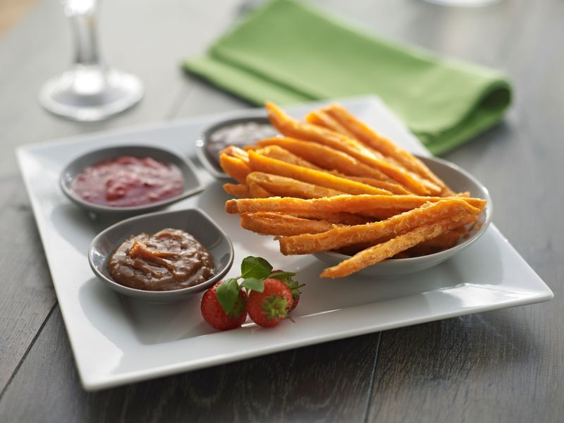 Sweet Potato Fries dessert with dips