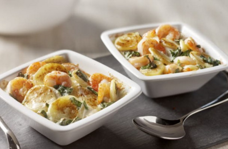 Potato Gratin with Spinach and Prawns