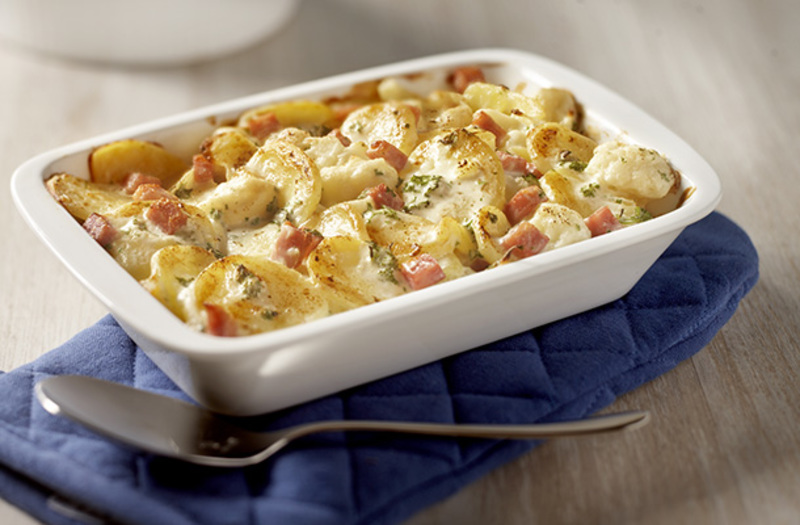 Potato & Cauliflower gratin with ham