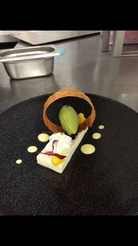 Coconut and lime panacotta with a basil and lime sorbet