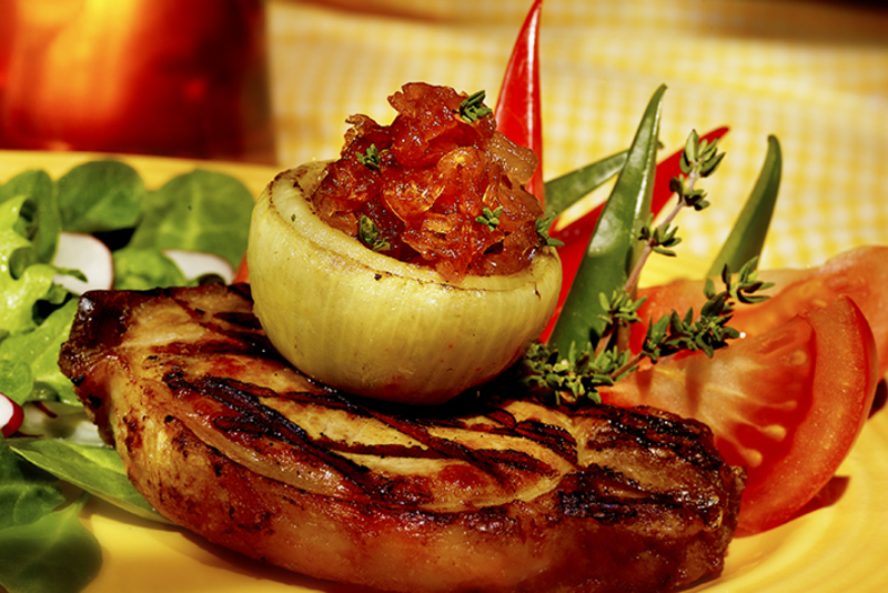 Grilled Pork Chops with Maple Caramelised Onions