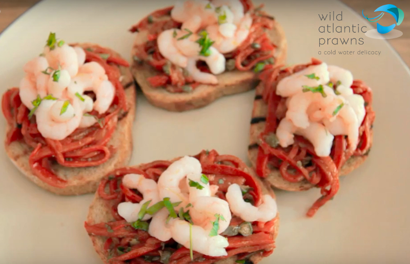 PRAWN AND PIQUILLO PEPPER CROSTINI