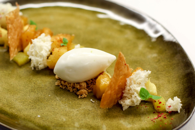 Roast Pineapple with Pink Peppercorn, Lemongrass Creme and Coconut Sorbet