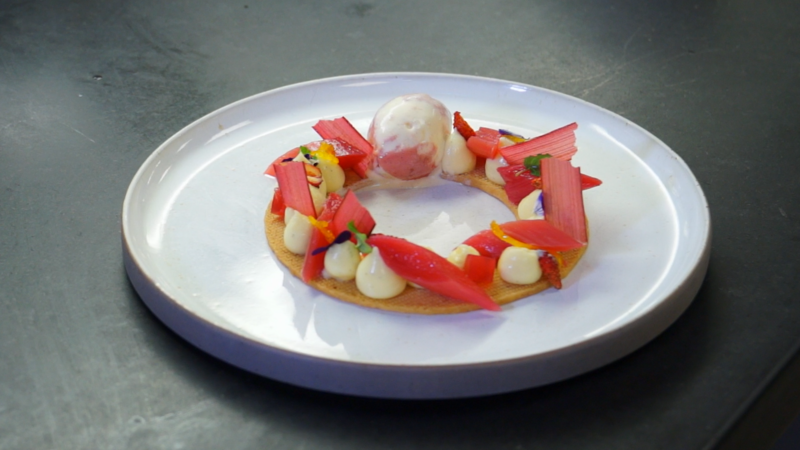 Vanilla Poached Rhubarb with Custard Cremeux, Blood Orange and Scottish Shortbread
