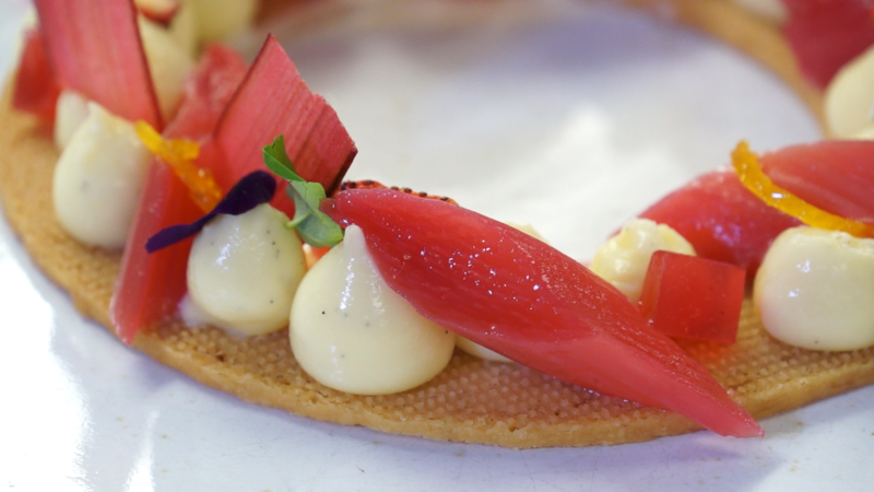 Vanilla Poached Rhubarb with Custard Cremeux, Blood Orange and Scottish Shortbread - 2