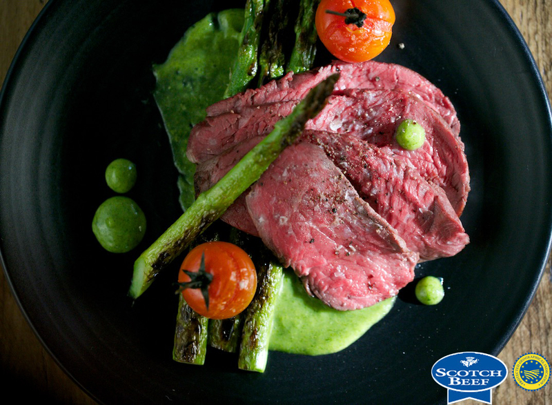 Scotch Beef rump cap, charred asparagus, smoked tomato and tarragon mustard - 1