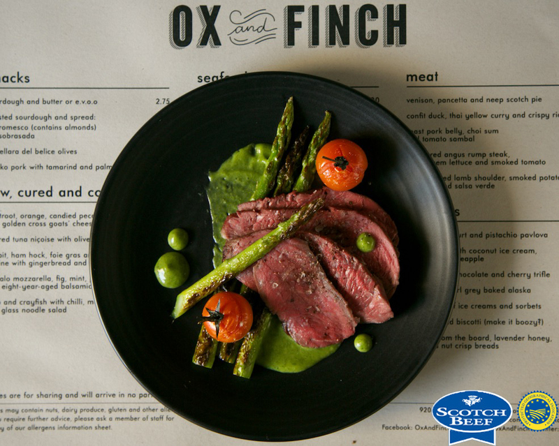 Scotch Beef rump cap, charred asparagus, smoked tomato and tarragon mustard