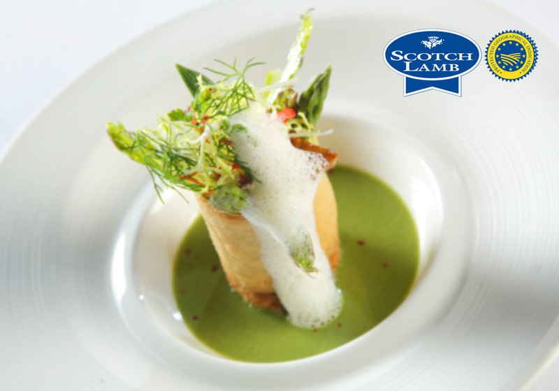 Green Asparagus And Veloute With Braised Scotch Lambs feet by Gleneagles Hotel, in association with Quality Meat Scotland. Photography by Guy Hinks.