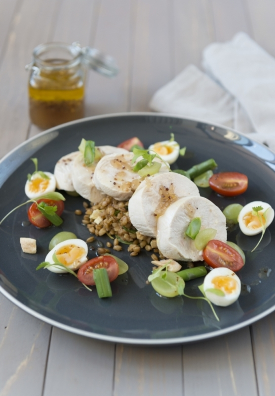 Poached chicken, quail eggs, maple and grape dressing