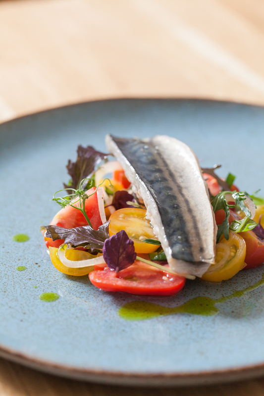 GRILLED SUSSEX MACKEREL WITH NUTBOURNE TOMATOES, BASIL & SHALLOTS