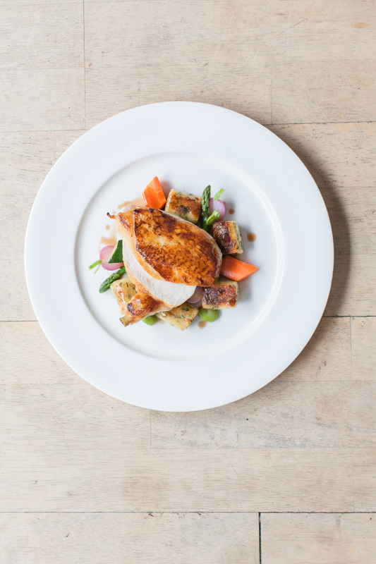 Roasted Breast of Chicken with Potato Gnocchi and Spring Garden Vegetables