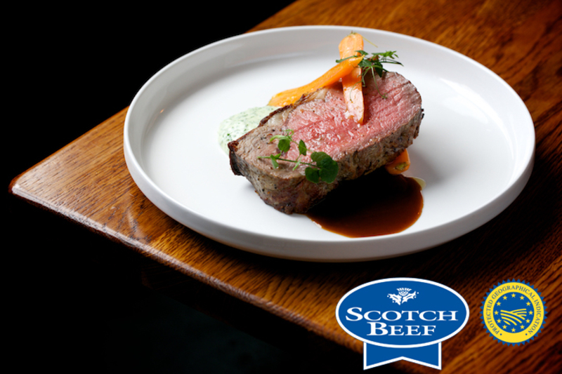 Roasted 80 day dry aged Sirloin of Scotch Beef, Parsley and chive Pomme mousselin