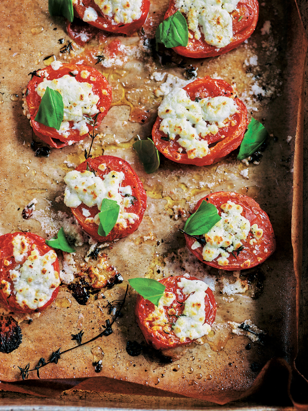 Oven-roasted tomatoes & goats' cheese
