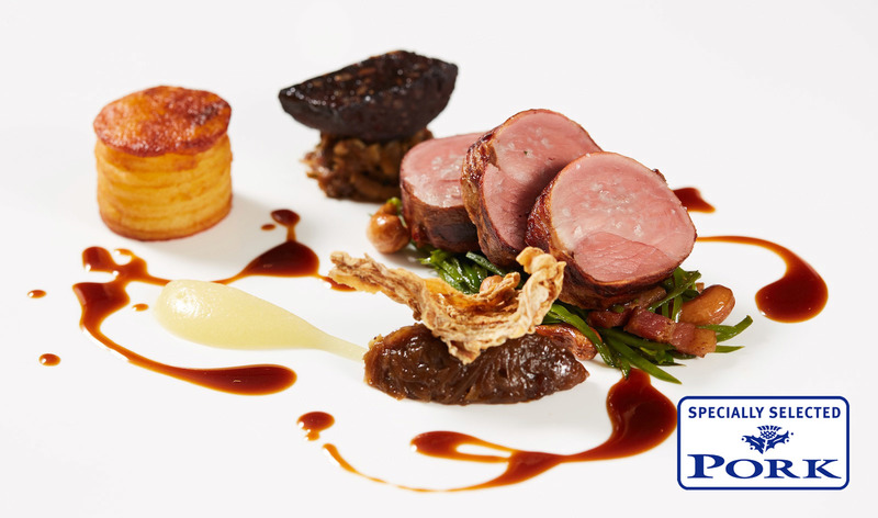 Whitmuir Specially Selected Pork with Black Pudding, apple puree,  shallot jam and potato anna (serves 2)