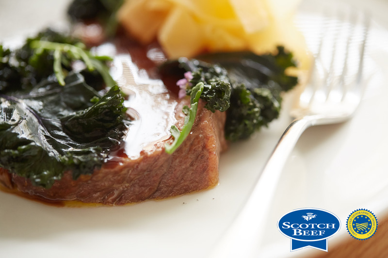 Aged Scotch Beef sirloin, kale, turnip and sea rocket by Scott Smith at Norn