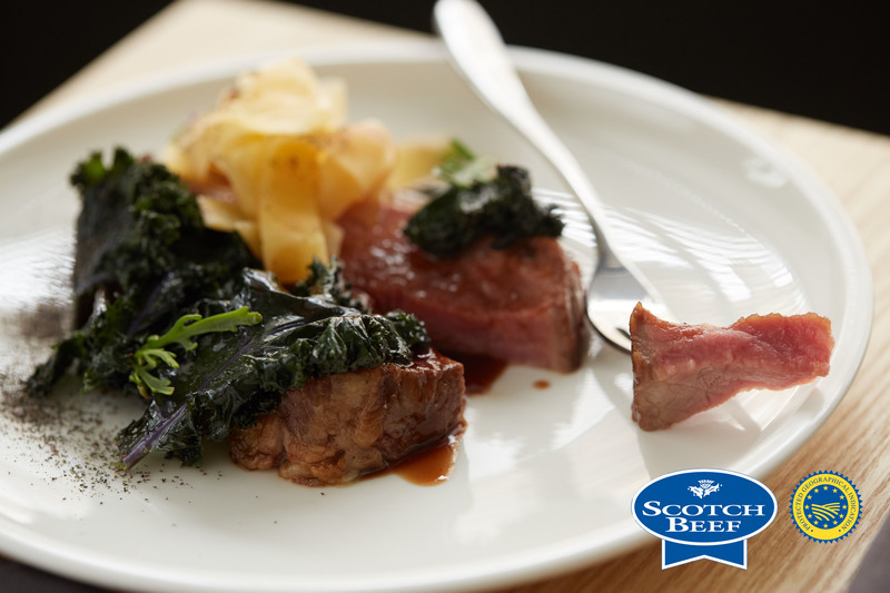 Aged Scotch Beef sirloin, kale, turnip and sea rocket by Scott Smith at Norn - 1