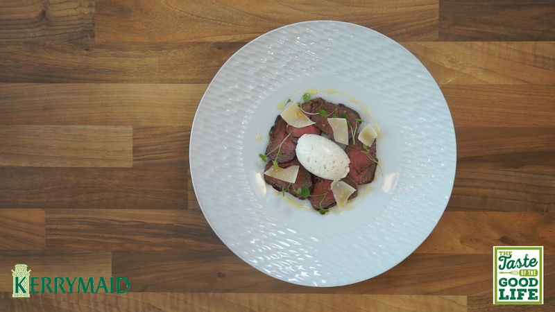 Rare roast beef fillet with truffle cream
