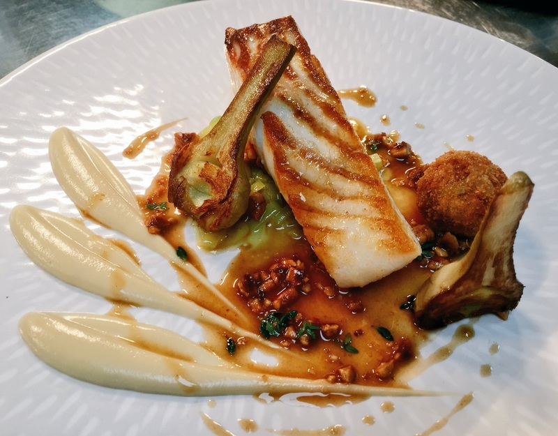 Turbot, iberico  croquette, melted leeks, jerusalem artichoke, lemon thyme and hazelnut