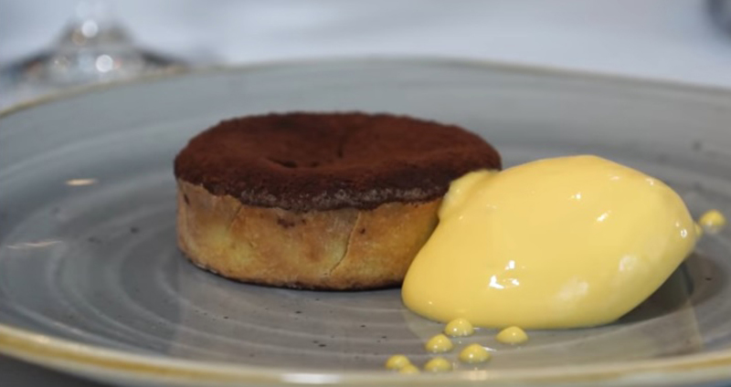 Soft centred chocolate and coffee tart with passion fruit curd - 2