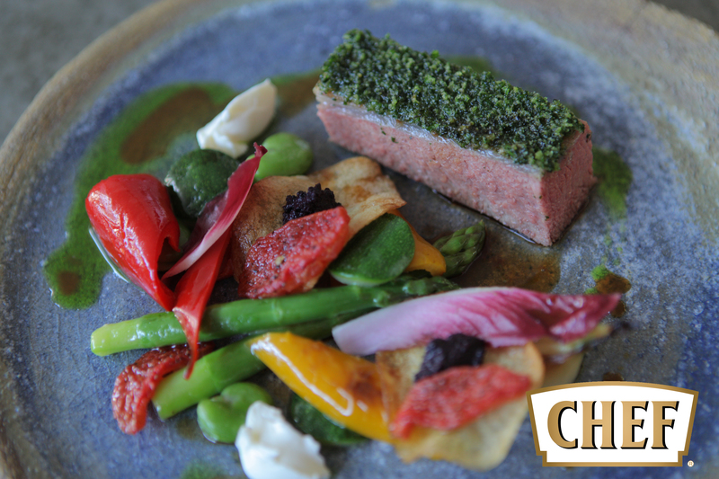 Lamb with herb crust, summer vegetable and olive tapenade potato