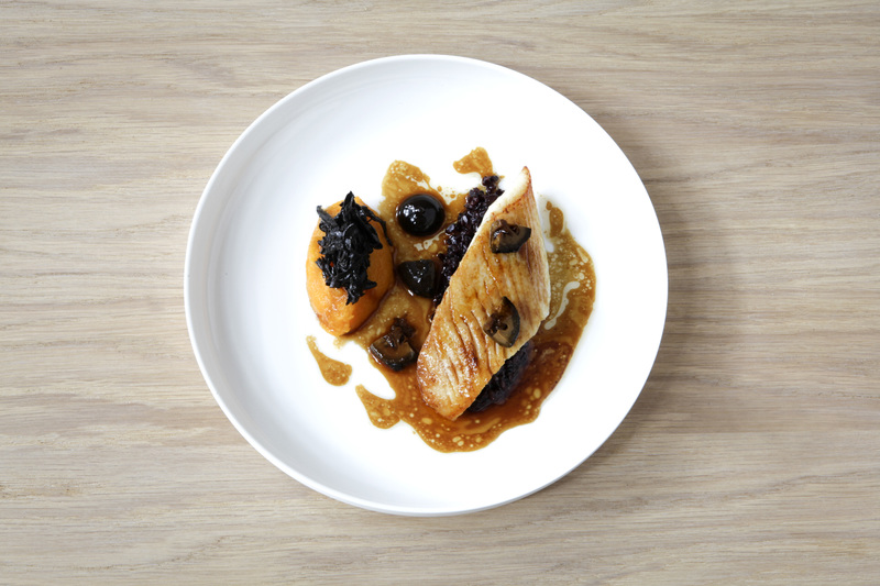 Saute of John Dory with black rice, butternut squash and sage