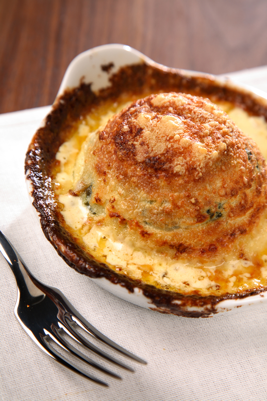 Cafe 21 at Fenwick's cheddar cheese and spinach souffle