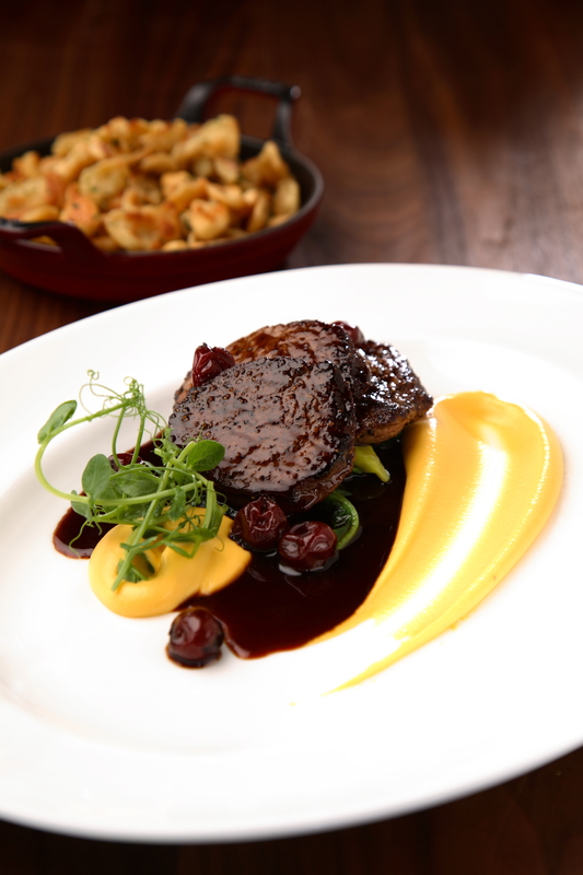 21's medallions of Northumbrian venison with red wine cherries