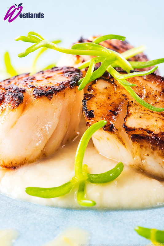 Seared scallops with celeriac puree, lemon butter sauce and Westlands salty fingers - 1