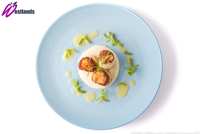 Seared scallops with celeriac puree, lemon butter sauce and Westlands salty fingers - 2