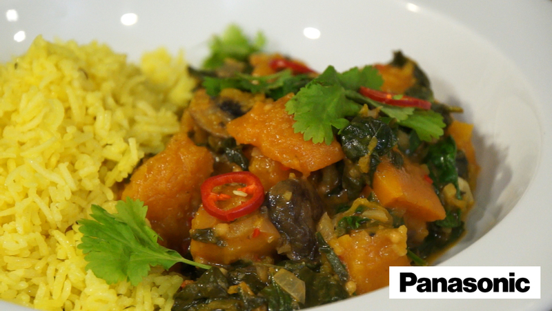 Butternut Squash, Mushroom and Spinach Curry using a Panasonic Microwave - 1