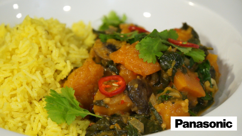 Butternut Squash, Mushroom and Spinach Curry using a Panasonic Microwave - 3
