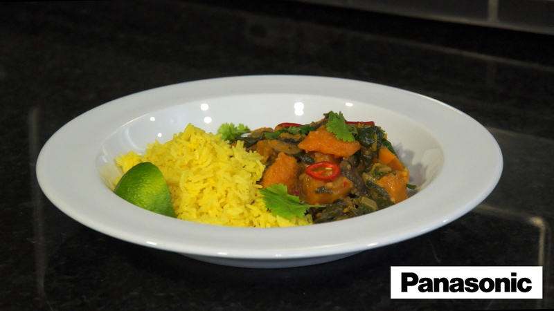 Butternut Squash, Mushroom and Spinach Curry using a Panasonic Microwave - 4