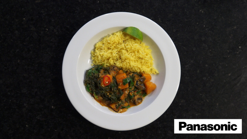 Butternut Squash, Mushroom and Spinach Curry using a Panasonic Microwave