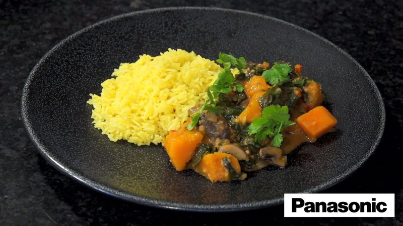 Basmati Rice Palav using a Panasonic Microwave